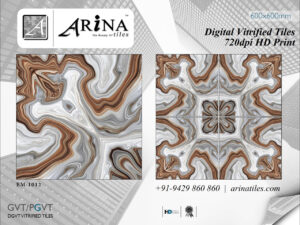 24x24 Digital Vitrified Tiles - Bookmatch Series (7) Size (mm) – 600×600mm Size (inch) – 24×24 Packing – 4 Pcs/Box Weight – 28 Kg (Approx) Thickness – 9 mm (Approx) ISO 9001:2015 & CE Certified 720DPI HD Print Strain free Nano Polished Glaze Surface 3D Print Series 24x24 Digital Vitrified Tiles Catalog Download [fc id='3' type='popup' placement='right' button_color='#4488ee' font_color='white']Dealership Inquiry[/fc]