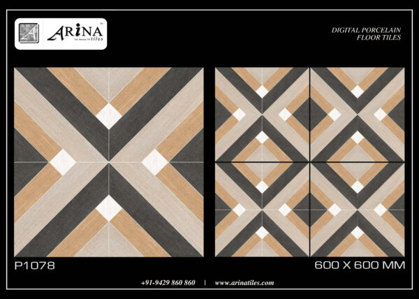 P1078- 24x24 Porcelain Floor Tiles Size (mm) – 600×600mm Size (inch) – 24×24 Packing – 4 Pcs/Box Weight – 27.5 Kg (Approx) Thickness – 8.5 mm (Approx) ISO 9001:2015 & CE Certified HD Print Strain free butter finish Surface White Body Tiles 24x24 Porcelain Floor Tiles Catalog Download
