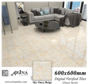 Sky Onyx Beige - 24x24 Digital Vitrified Tiles