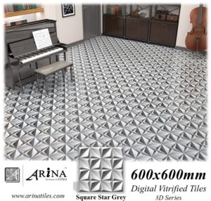 Square Star Grey - 24x24 Digital Vitrified Tiles