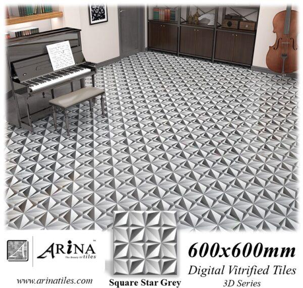 Square Star Grey - 24x24 Digital Vitrified Tiles