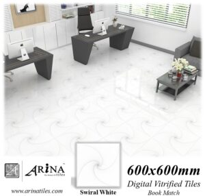 Swiral White - 24x24 Digital Vitrified Tiles