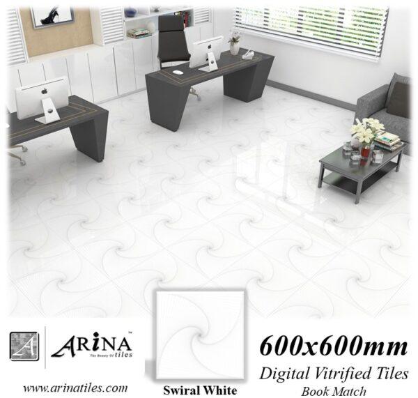Swiral White - 24x24 Digital Vitrified Tiles